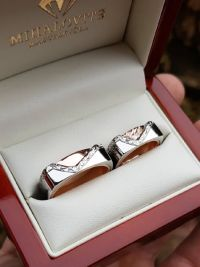 marcsi and gabor rosegold and stainless steel wedding rings