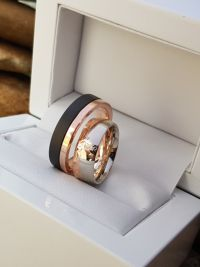 zsuzsanna and norbert gold stainless steel wedding ring